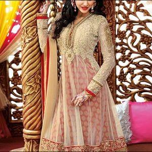 Red & Gold Net Indian Anarkali Pajami Suit